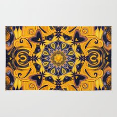 Flame Hearts in Blue and Gold Rug
