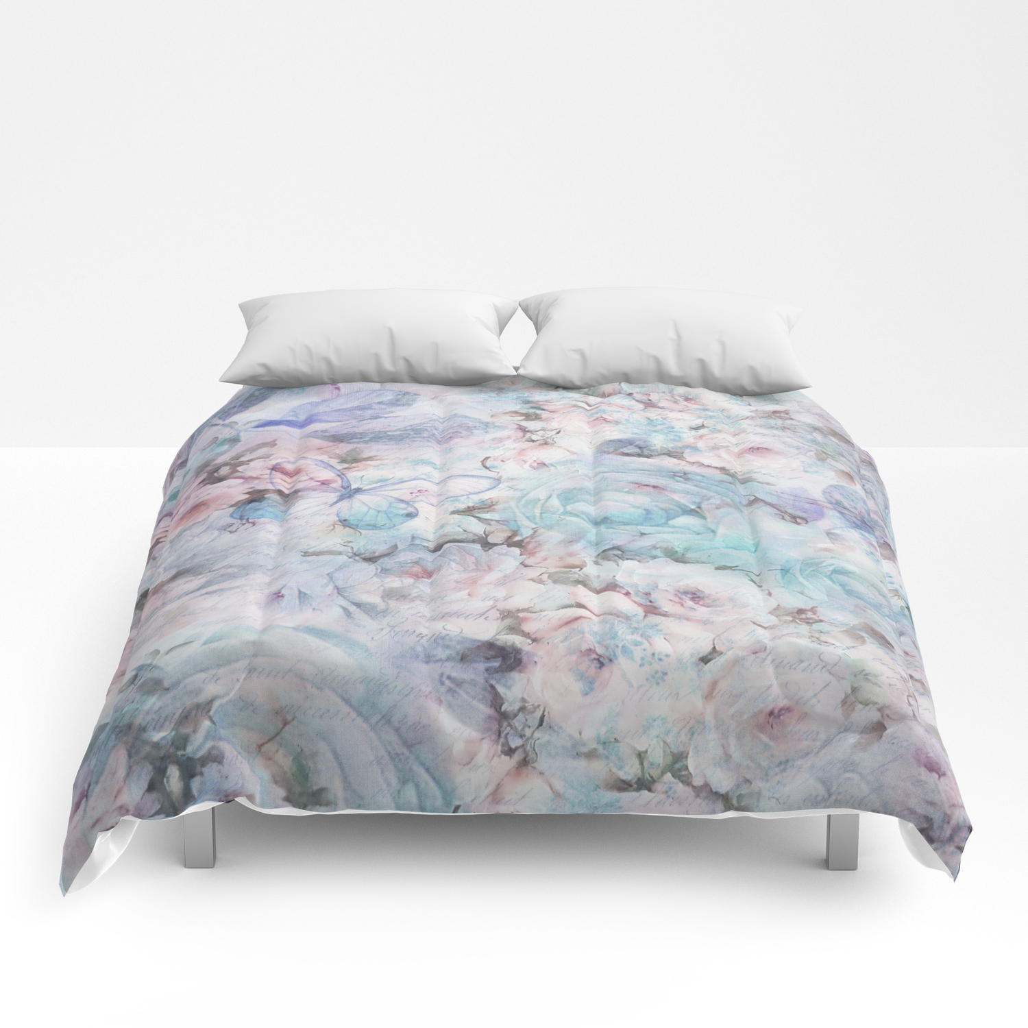 Shabby vintage pastel pink teal floral butterfly typography Comforters