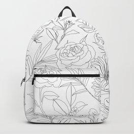 stylish garden flowers black outlines design Backpack