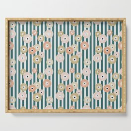 Delicate flowers on stripes Serving Tray