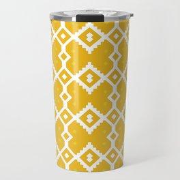 Yellow Chevron Diamond Pattern Travel Mug