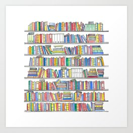 Colorful Bookcase Art Print