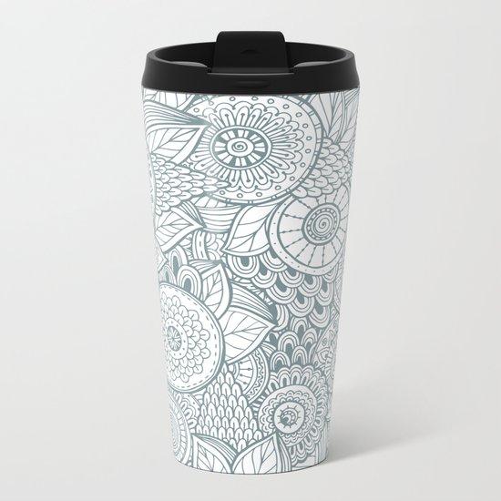 Abstract Floral Pattern Metal Travel Mug