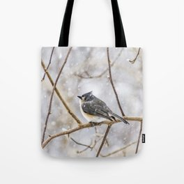 Snowy Titmouse Tote Bag