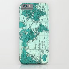 World Map in Teal Slim Case iPhone 6s