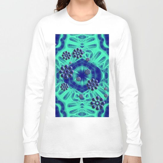 Popping flowers in trippy blue Long Sleeve T-shirt