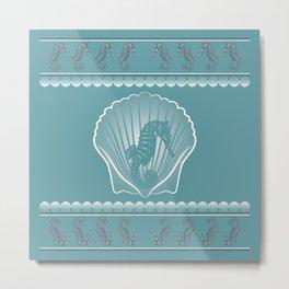 Seahorse Shell Square Metal Print