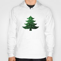 sparkles Hoodies featuring Christmas tree green sparkles by PLdesign
