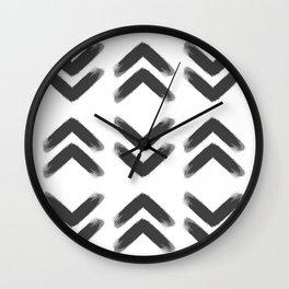 Black Brushed Chevrons Wall Clock