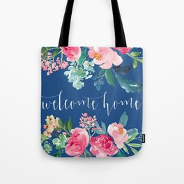 Welcome Home Blue and Pink Floral Tote Bag