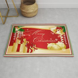 Merry Christmas Greeting With Gifts Bows And Ornaments Rug