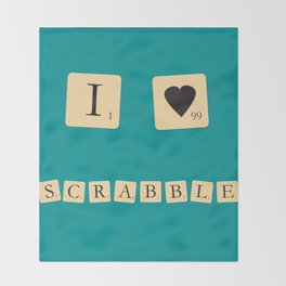 I heart Scrabble Throw Blanket
