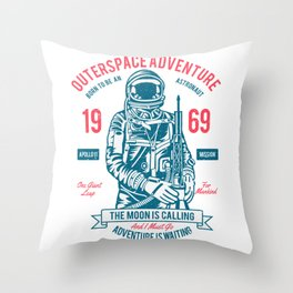 Outer space Adventure - Born to be an astronaut Throw Pillow