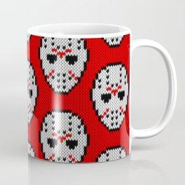Knitted Jason hockey mask pattern Coffee Mug