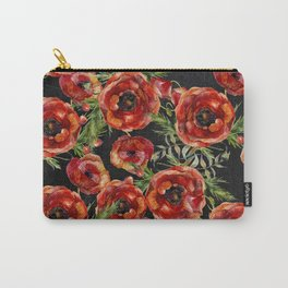 Poppy Pattern On Chalkboard Carry-All Pouch