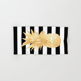 Gold Pineapple Black and White Stripes Hand & Bath Towel