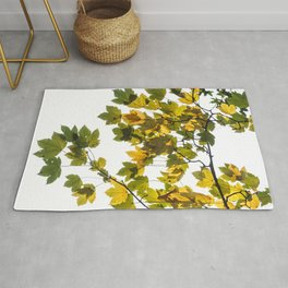 Green And Yellow Maple Leaf Rug