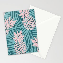 Prints of Hawaii, Pineapple Art, Teal and Pink Stationery Cards