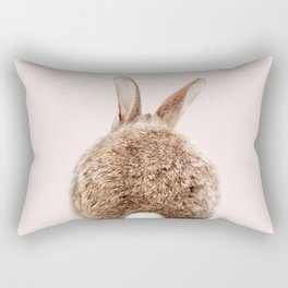 Brown Baby Rabbit Tail With Pink Background, Baby Animals Art Print By Synplus Rectangular Pillow