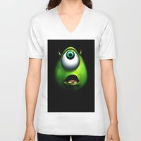 mike wrobel V-neck T-shirts featuring mike wazowski by Dan Solo Galleries