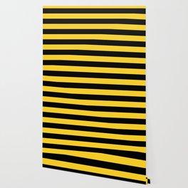 Yellow and Black Honey Bee Horizontal Cabana Tent Stripes Wallpaper
