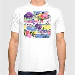Purple Pansies With Pink Roses Watercolor Pastel Pattern T-shirt