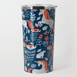 Unicorns, rabbits, birds, flowers. Decorative seamless pattern. Folk art. Travel Mug