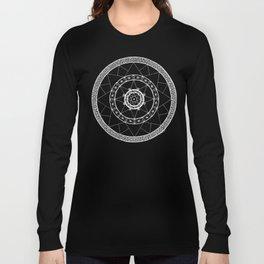 Zen Star Mandala - Black White - Square Long Sleeve T-shirt
