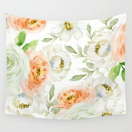 Big Peach and White Flowers Wall Tapestry