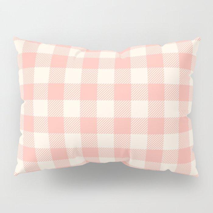 PASTEL GINGHAM 02, blush pink squares Pillow Sham