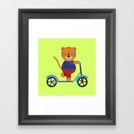 Tiger on Scooter Framed Art Print