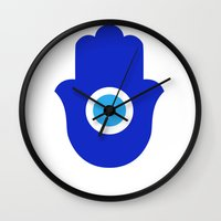 evil eye Wall Clocks featuring Evil Eye by Marcaccini Studios