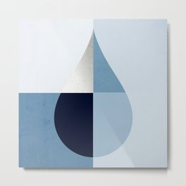 Geometric raindrop - chambray blues Metal Print