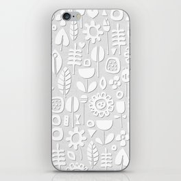 paper cut flowers white silver iPhone Skin