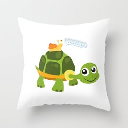 Adorable Snail Riding Turtle Yelling Whee Cute Throw Pillow