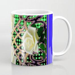 BLUE-GREEN WHITE ROSE GARDEN  TAPESTRY ART Coffee Mug