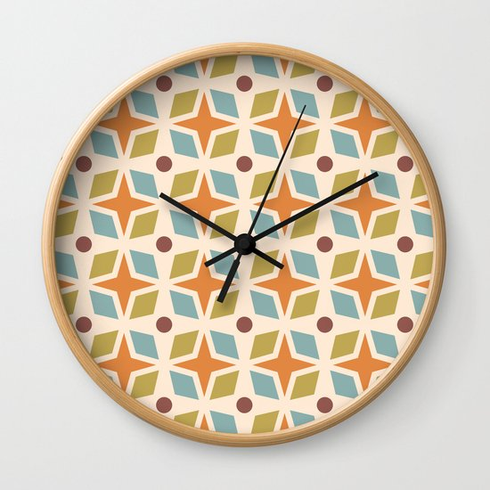Mid Century Modern Abstract Star Dot Pattern 441 Orange Brown Blue Olive Green by tonymagner