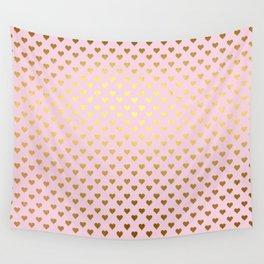 Princesslike - pink and gold elegant heart ornament pattern Wall Tapestry
