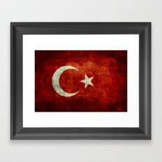 National flag of Turkey, Distressed worn version Framed Art Print