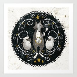 Wolf & Sheep with Banjo Art Print