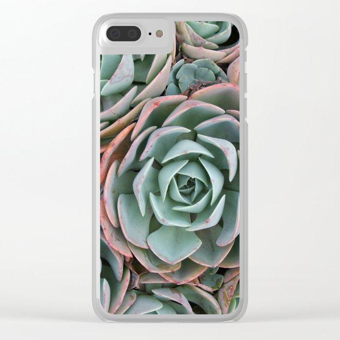 Pink & Green Succulent Garden Clear iPhone Case