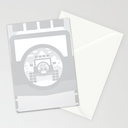 Light Grey digital drawing of a 4x4 adventure vehicle in the mountains Stationery Cards