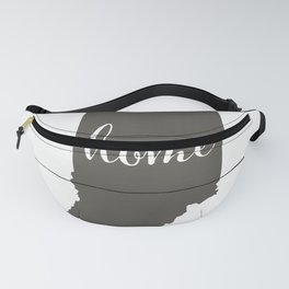 Indiana is Home - Charcoal on White Wood Fanny Pack