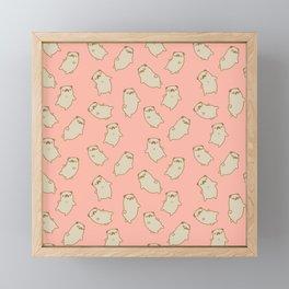 Sleepy Pug Pink Pattern Framed Mini Art Print