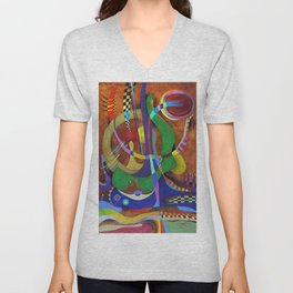 Painting abstract climbing in the mountains Unisex V-Neck
