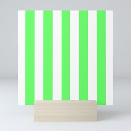 Screamin' Green - solid color - white vertical lines pattern Mini Art Print
