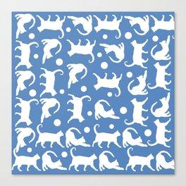 Cats Stretching: CHIN BLUE Canvas Print