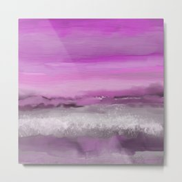 Pink and Purple Abstract Seascape Metal Print