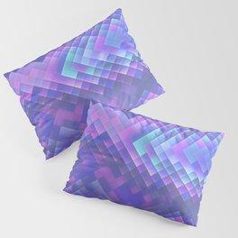 Indigo Violet Bright Squares Pattern Pillow Sham