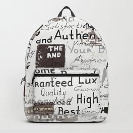 Grunge hipster pattern with different words and signatures Backpack